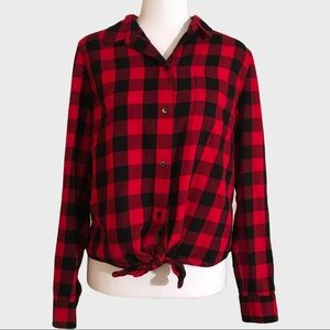 Madewell Buffalo check front tie flannel shirt